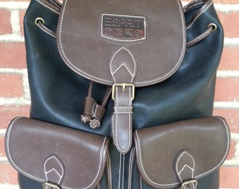d325a72c7c7 90 s Esprit Faux Leather Backpack Rucksack Bag