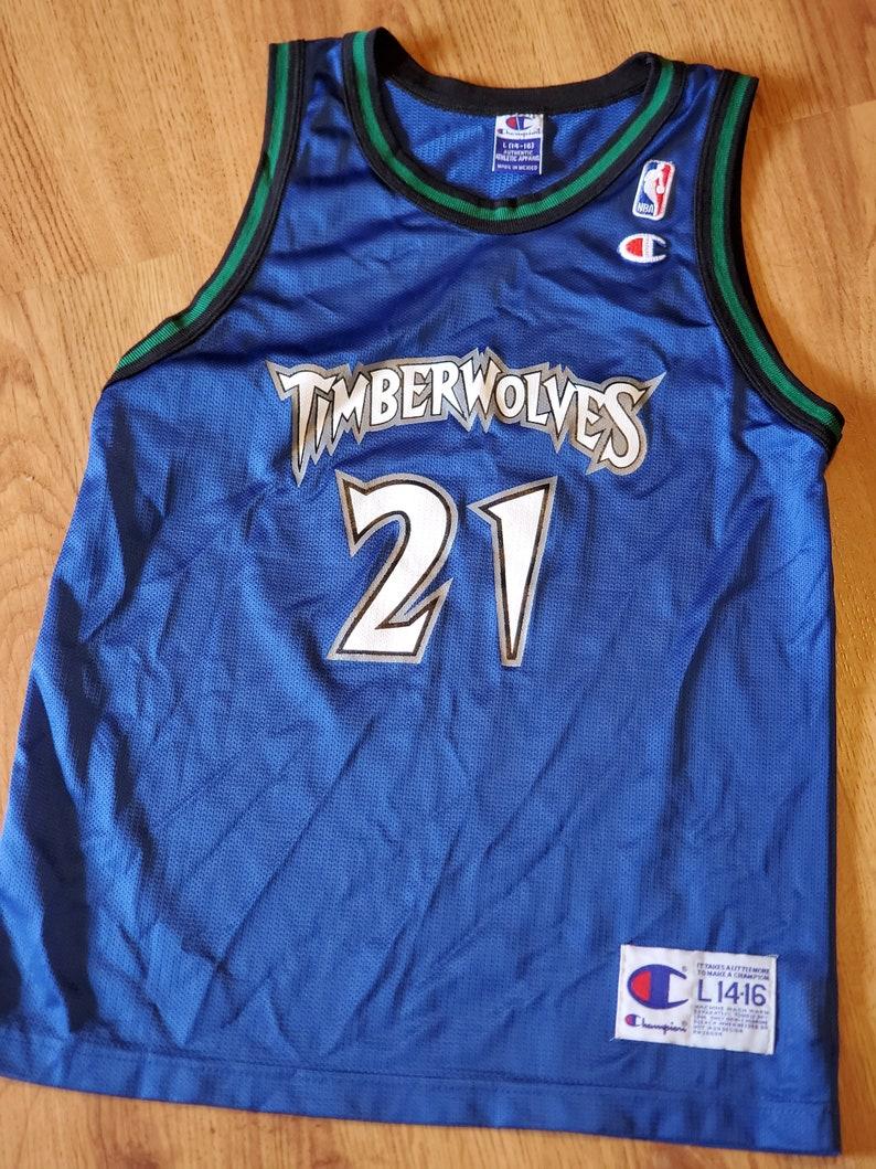 size 40 af4ce b33fb Vintage champion Minnesota Timberwolves Kevin Garnett Jersey size youth  large