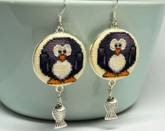 Black penguin embroidered earrings, Cross stitch animal jewelry, Handcrafted birthday gift