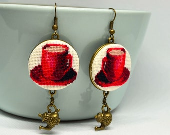 Coffee cup embroidered earrings, Red cup cross stitch jewelry with teapot charm, Handcrafted gift for her