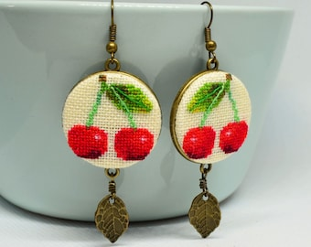 Red cherry embroidered earrings Gift for garden lover Modern jewelry with leaf charm Birthday gift for woman