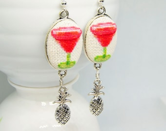 Cocktail embroidered red earrings, Cross stitch prom party jewelry with pineapple charm, Handcrafted gift for women