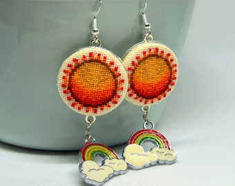 Orange sun embroidered earrings Cross stitch boho jewelry with rainbow charm Handcrafted gift for women
