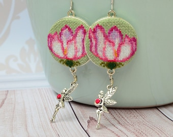 Pink flower embroidered earrings, Cross stitch nature jewelry with fairy charm, Dainty gift for her
