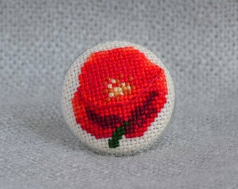 Embroidered ring with poppy, best gift for women, round red ring with cross stitch