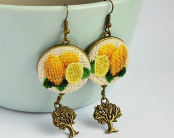 Lemon earrings with tree charm, Handcrafted birthday gift for woman, Fabric fruit jewelry