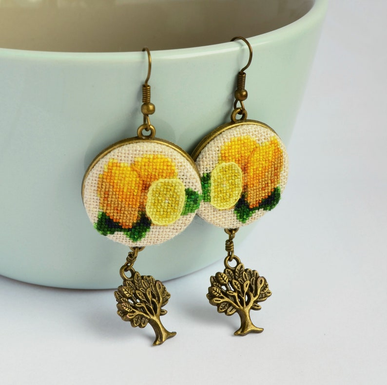 Lemon earrings with tree charm Handcrafted birthday gift for image 0