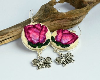 Rose embroidered dainty earrings, Cross stitch nature jewelry with butterfly charm, Handcrafted floral pink gift