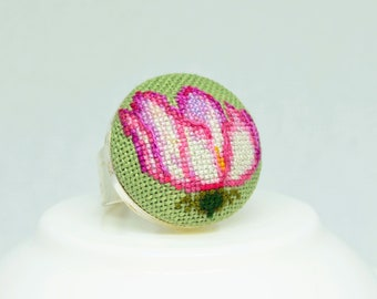 Pink flower embroidered ring, Cross stitch nature jewelry, Dainty gift for her