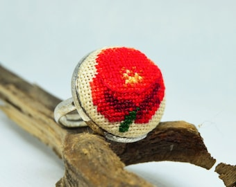 Red poppy embroidered ring, Cross stitch nature jewelry, Handcrafted dainty floral gift for her