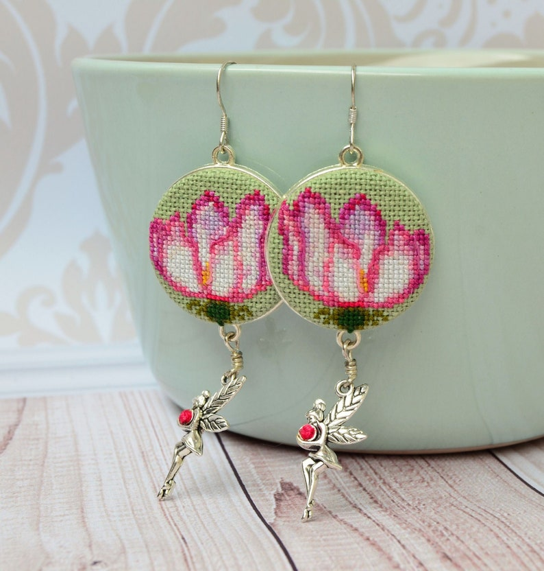 Pink flower embroidered earrings Cross stitch nature jewelry image 1
