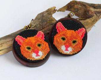 Ginger cat embroidered earrings Cross stitch jewelry for pet lover Orange handcrafted birthday gift