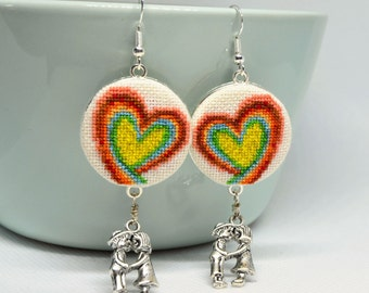 Rainbow heart embroidered earrings Cross stitch romantic jewelry with couple charm Handcrafted dainty gift for her