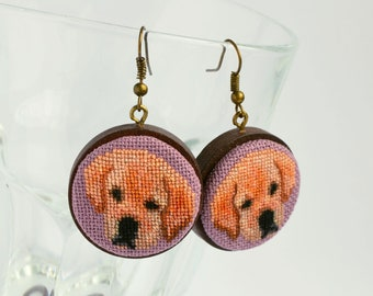 Labrador embroidered earrings, Cross stitch jewelry for dog lover, Handcrafted birthday gift for women