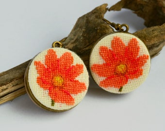 Tangerine flower embroidered earrings, Orange floral jewelry, Holiday gift for woman