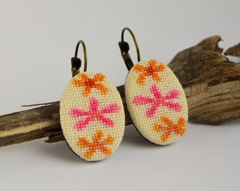 Orange pink flower embroidered earrings, Cross stitch floral jewelry, Handcrafted gift for girl