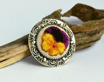Pansy flower embroidered round brooch, Cross stitch yellow black jewelry, Handcrafted floral gift for women