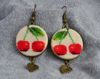 Embroidered earrings Gardening gift Red cherry earrings Gift for her Boho jewelry Red jewelry Hand embroidery Birthday gift Cross stitch