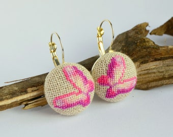 Pink butterfly embroidered earrings, Cross stitch nature jewelry, Handcrafted dainty gift for women