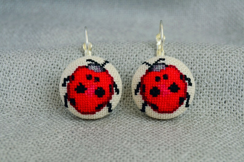 Cross stitch jewelry Red fabric jewelry Red ladybug earrings Women gift Handcrafted round earrings Embroidered jewelry