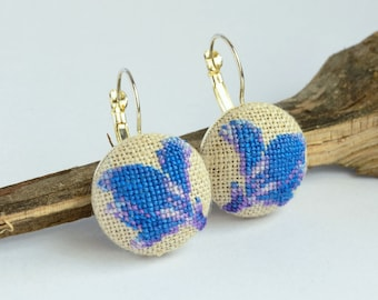 Blue flower dangle embroidered earrings, Cross stitch floral jewelry, Handcrafted dainty gift for girlfriend