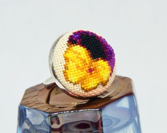Pansy flower embroidered round ring, Cross stitch yellow black jewelry, Handcrafted floral gift for women