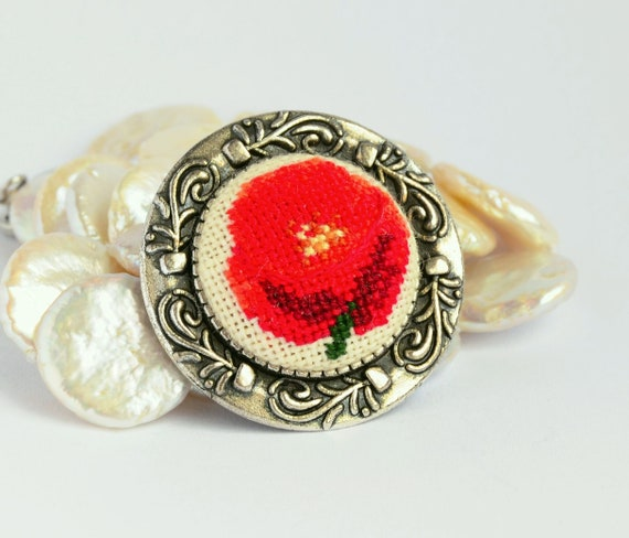 Clothing gift Red poppy brooch Cross stitch jewelry Embroidered brooch Red  jewelry Hand embroidery Floral nature brooch Poppy jewelry