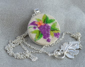 Embroidered pendant with grapes best gift for garden lover, round violet necklace with cross stitch