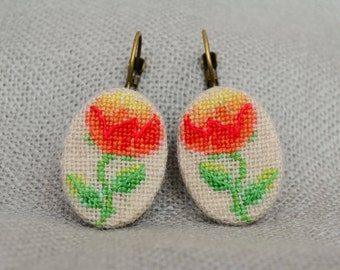 Embroidered earrings with peony, best gift for her, oval red earrings with cross stitch