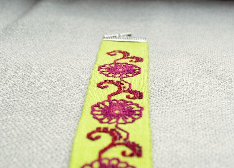 Burgundy flower linen bracelet Light green nature gift for woman Cross stitch fabric floral jewelry