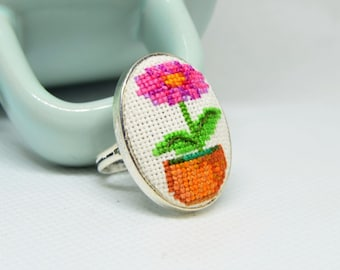Embroidered ring with flower pot, best gift for her, oval magenta ring with cross stitch