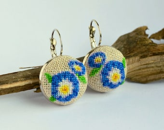 Blue flower embroidered earrings, Cross stitch floral jewelry, Handcrafted nature gift for woman