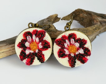 Black red flower embroidered earrings, Cross stitch dark floral jewelry, Handcrafted modern gift for women