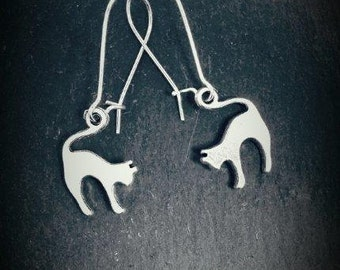 Silver Plated Cat Hanging Earrings