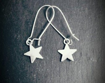 Star Silver Plated Drop Earrings