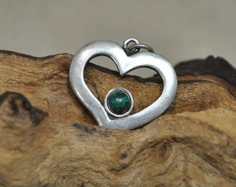 Sterling Silver Heart Pendant with Green Stone