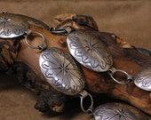 Vintage Sterling Silver Stamped Concho Belt