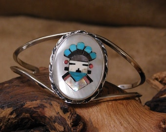 80ad60c82f1 Vintage Sterling Silver Multi Stone Kachina Inlay Cuff Bracelet