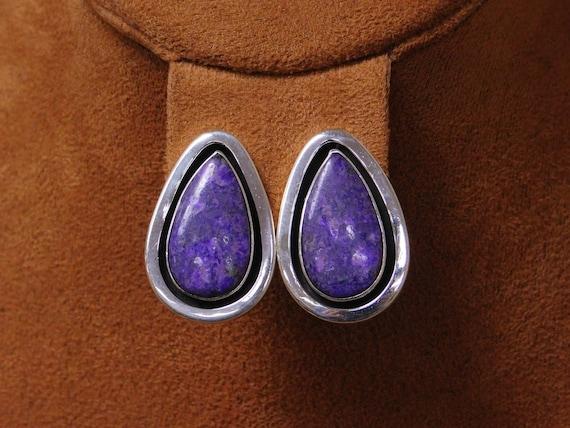 Navajo Purple Stone Tear Drop Sterling Silver Clip