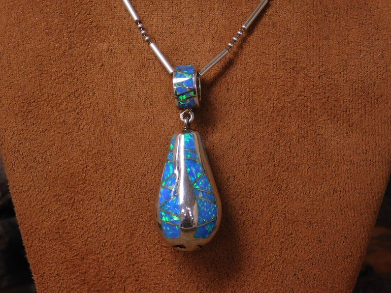 Vintage Sterling Silver and Lab Created Opal Necklace