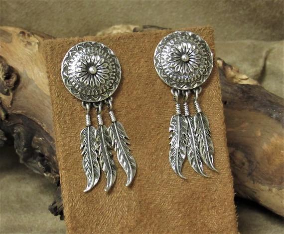 Sterling Silver Diamond Cut Concho Post Earring wi
