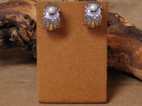 Vintage Sterling Silver Faux Pearl Hoop Earrings