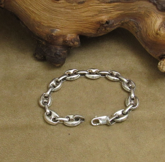 Sterling Silver Puffed Anchor Chain Bracelet