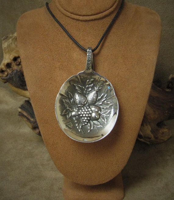 Sterling Silver Repousse Fruit Spoon Bowl Necklace