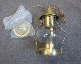 Lantern Style Brass Color Hanging Light Fixture Ceiling Mount
