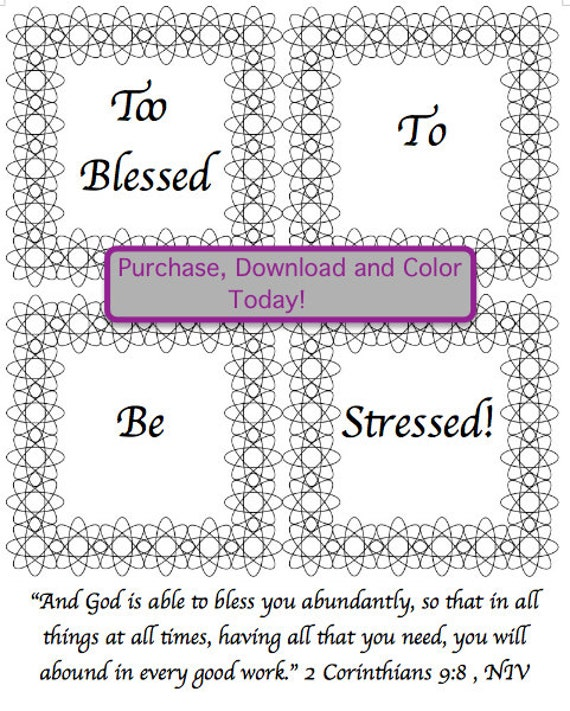 retro spirograph adult coloring page too blessed to be stressed bible verse coloring page from therefeatherednest on etsy studio