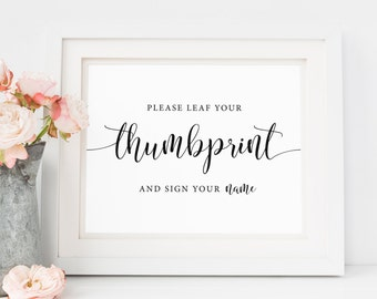 Thumbprint Sign, Thumbprint Guestbook, Please Leaf Your Thumbprint Sign, Wedding Tree Sign, Printable Wedding Sign, Instant Download