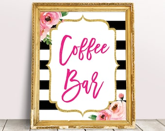 coffee bar sign kate bridal shower decor printable coffee bar decor brunch shower sign dessert coffee table sign floral coffee digital