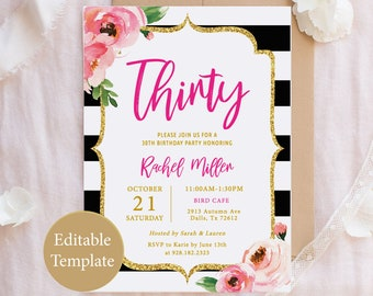 Kate 30th Birthday Invitation Template Adult Thirty Printable Spade Invitations Floral