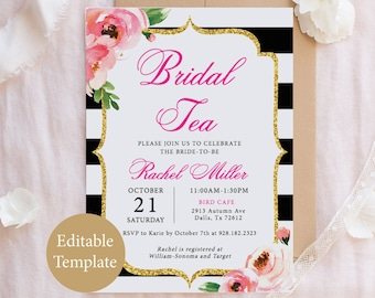 kate bridal tea party invitation template floral bridal luncheon pink bridal shower invite editable diy bridal tea invite printable